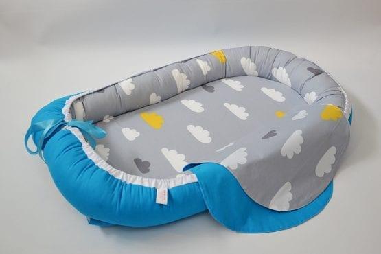 Baby Nest 0-6 luni cu turcuaz si norisori