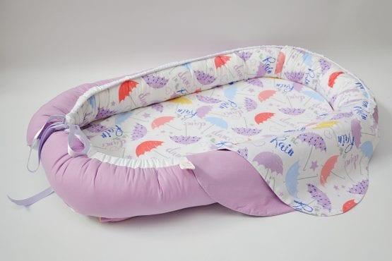 Baby Nest 0-6 luni,compact,model cu lila si umbrele