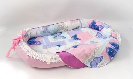 Baby Nest 0-6 luni,compact,model lila cu fluturi Deluxe