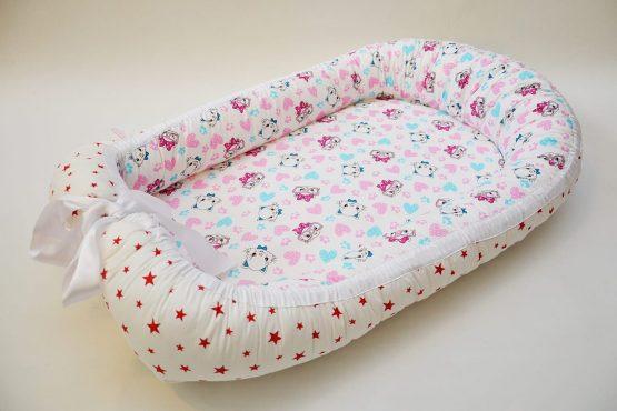 Baby nest 0-6 luni cu pisici roz+protectie