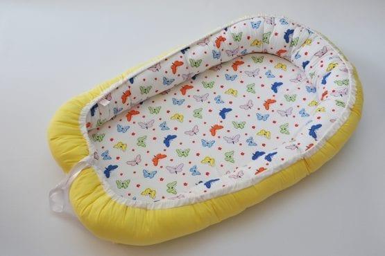 Baby Nest 0-6 luni cu fluturi colorati+protectie