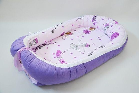 Baby Nest 0-6 luni: balerine si mov+protectie