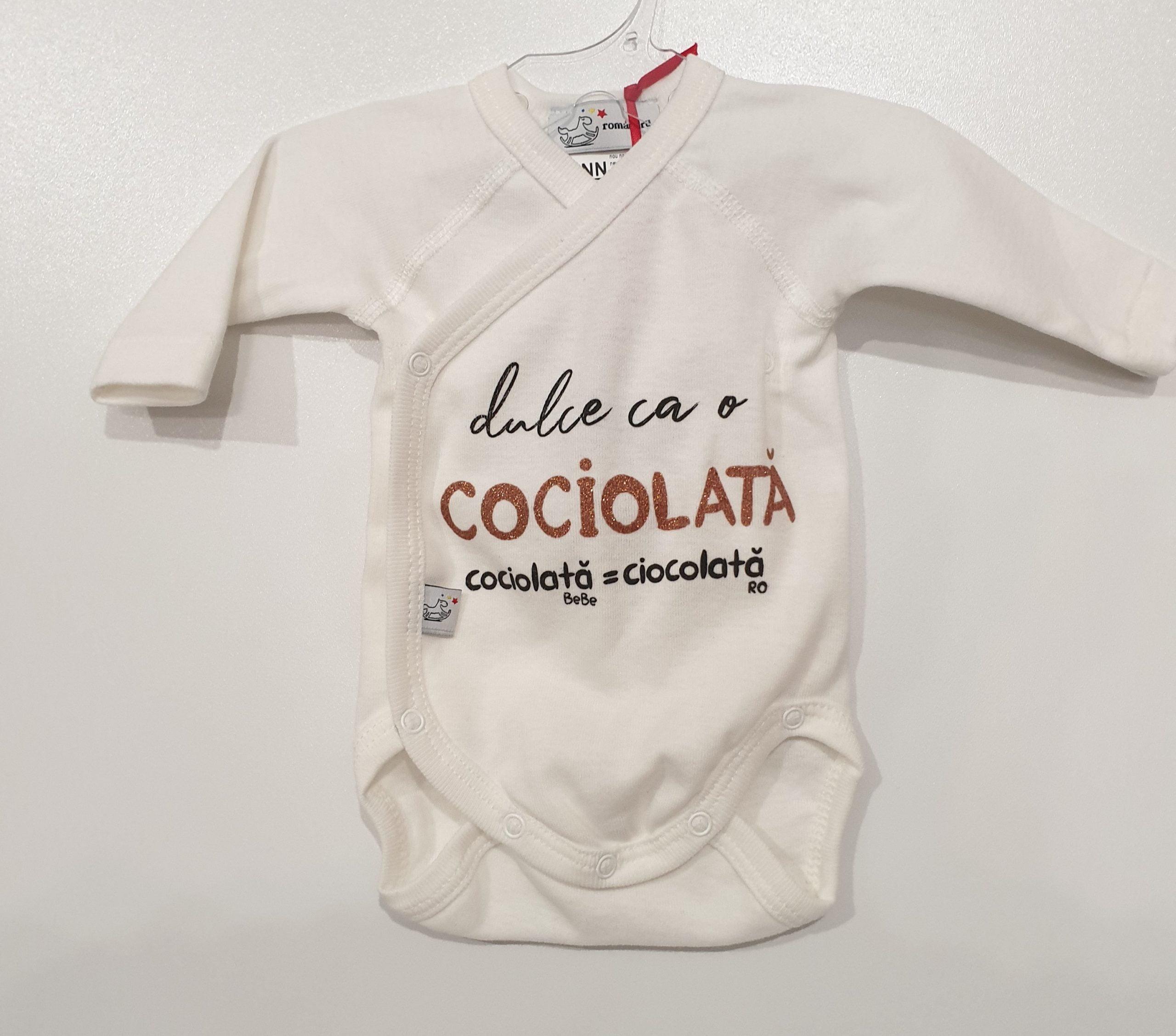 Body bebe Alb ML NN Dulce ca o ciocolata